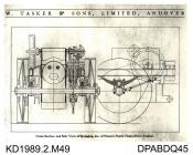 Photograph, black and white, showing a drawing of Hoare's patent spring chain drive, built by Tasker and Co, Waterloo Foundry, Anna Valley, Abbotts Ann, Hampshire