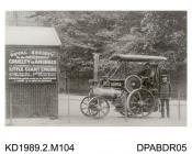 Photograph, black and white, showing a traction engine, named Horses Friend, at Crystal Palace, London, for the RSPCA, built by Tasker and Co, Waterloo Foundry, Anna Valley, Abbotts Ann, Hampshire, 1903