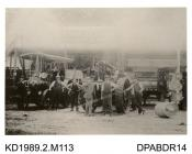 Photograph, black and white, showing a traction engine and thrashing machine, RASE Prize thrasher, Tasker and Co, Waterloo Foundry, Anna Valley, Abbotts Ann, Hampshire