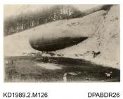 Photograph, black and white, showing a military airship Beta, in the chalk pit at Bury Hill, Upper Clatford, Hampshire, 1910