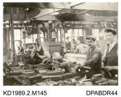 Photograph,black and white, showing men in the old fitting shop, Tasker and Co, Waterloo Foundry, Anna Valley, Abbotts Ann, Hampshire