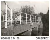 Photograph, black and white, showing Enford Bridge, Enford, Hampshire, built in 1844 by Tasker and Co, Waterloo Foundry, Abbotts Ann, Hampshire, 1960
