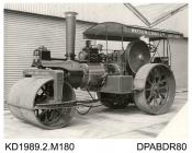 Photograph, black and white, showing a steam roller for Watson and Haig, built by Tasker and Co, Waterloo Foundry, Anna Valley, Abbotts Ann, Hampshire