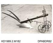 Photograph, black and white, showing a plough, bulit by Tasker and Co, Waterloo Foundry, Anna Valley, Abbotts Ann, Hampshire