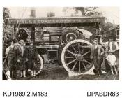 Photograph, black and white, showing a fairground engine for W A Hall and Son, built by Tasker and Co, Waterloo Foundry, Anna Valley, Abbotts Ann, Hampshire