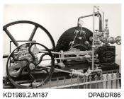 Photograph, black and white, showing a horizontal bed stationary engine, Mottisfont, Hampshire, built by from Tasker and Co, Waterloo Foundry, Anna Valley, Abbotts Ann, Hampshire