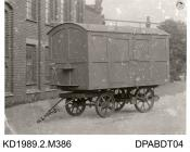 Photograph, black and white, shoing a removal or transporter wagon, Tasker and Co, Waterloo Foundry, Anna Valley, Abbotts Ann, Hampshire