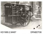 Photograph, black and white, showing a horse drawn wagon, for LtCol A C Nicholson, built by Tasker and Co, Waterloo Foundry, Anna Valley, Abbotts Ann, Hampshire