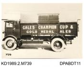 Photograph, black and white, showing a lorry for Gales Brewery, by Tasker and Co, Waterloo Foundry, Anna Valley, Abbotts Ann, Hampshire