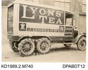 Photograph, black and white, showing a lorry for J Lyons, tea merchant, Cadby, London W14, built by Tasker and Co, Waterloo Foundry, Anna Valley, Abbotts Ann, Hampshire
