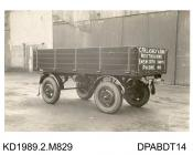 Photograph, black and white, showing a box trailer, for C F H Lashly and Son, Westbourne, Emsworth, Hampshire, built by Tasker and Co, Waterloo Foundry, Anna Valley, Abbotts Ann, Hampshire