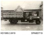 Photograph, black and white, showing a steam wagon, for H and G Dutfield, haulage, Upper East Smithfield, London, built by Tasker and Co, Waterloo Foundry, Anna Valley, Abbotts Ann, Hampshire