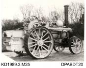 Photograph, black and white, showing a steam traction engine, built by Tasker and Co, Waterloo Foundry, Anna Valley, Abbotts Ann, Hampshire