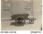Photograph, black and white, showing a Robbin hand cart, Tasker and Co, Waterloo Foundry, Anna Valley, Abbotts Ann, Hampshire, 1914-18