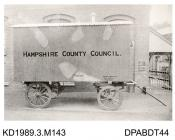 Photograph, black and white, showing a van for Hampshire County Council, built by Tasker and Co, Waterloo Foundry, Anna Valley, Abbotts Ann, Hampshire