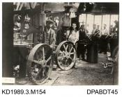 Photograph, black and white, showing men in the wheelwrights shop, Tasker and Co, Waterloo Foundry, Anna Valley, Abbotts Ann, Hampshire