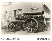 Photograph, black and white, showing a with a steam engine, for Fowler, built by Tasker and Co, Waterloo Foundry, Anna Valley, Abbotts Ann, Hampshire