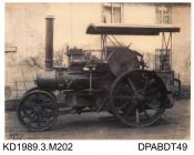 Photograph, sepia, showing a ploughing engine, class B2, built by Tasker and Co, Waterloo Foundry, Anna Valley, Abbotts Ann, Hampshire