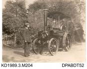 Photograph, black and white, showing two men with a steam engine, Little giant, built by Tasker and Co, Waterloo Foundry, Anna Valley, Abbotts Ann, Hampshire