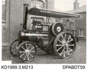 Photograph, black and white, showing a traction engine, class B2, for J B Blower, built by Tasker and Co, Waterloo Foundry, Anna Valley, Abbotts Ann, Hampshire