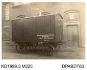 Photograph, sepia, showing a trailer, for Northamptonshire County Council, built by Tasker, Waterloo Iron Works, Anna Valley, Abbotts Ann, Hampshire