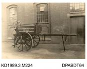 Photograph, sepia, showing a trailer, used by Northamptonshire County Council, built by Tasker, Waterloo Iron Works, Anna Valley, Abbotts Ann, Hampshire