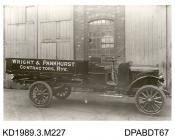 Photograph, black and white, showing a steam wagon, for Wright and Pankhurst, built by Tasker and Co, Waterloo Foundry, Anna Valley, Abbotts Ann, Hampshire
