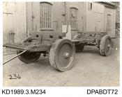 Photograph, black and white, showing a timber carriage, 12 ton, for Chivers, built b y Tasker and Co, Waterloo Anna Valley, Abbotts Ann, Hampshire