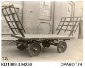 Photograph, sepia, showing a four wheeled cart, built by Tasker, Waterloo Iron Works, Anna Valley, Abbotts Ann, Hampshire