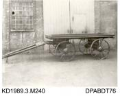 Photograph, black and white, showing a mule wagon, for African Corporation, built by Tasker and Co, Waterloo Foundry, Anna Valley, Abbotts Ann, Hampshire