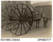 Photograph, black and white, showing a cable drum carrier, built by Tasker and Co, Waterloo Foundry, Anna Valley, Abbotts Ann, Hampshire, 1920 - 1925