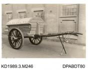 Photograph, sepia, showing a dust cart, used by Tewkesbury Town Council, Tewkesbury, Gloucestershire, built by Tasker, Waterloo Iron Works, Anna Valley, Abbotts Ann, Hampshire