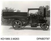 Photograph, black and white, shoing a tipper trailer and engine, for for Enderbury and Stoney Stouton Granite Co, Narborough, Leicester, built by Tasker and Co, Waterloo Foundry, Anna Valley, Abbotts Ann, Hampshire, 1919