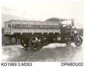 Photograph, black and white, showing a steam wagon for Shears and Sons, millers, Bishopstoke, Eastleigh, Hampshire, built by Tasker and Co, Waterloo Foundry, Anna Valley, Abbotts Ann, Hampshire