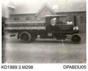 Photograph, black and white, showing a steam wagon, for J H Bradfield and Sons, Longstock Flour Mill, Stockbridge, Hampshire, built by Tasker and Co, Waterloo Foundry, Anna Valley, Abbotts Ann, Hampshire