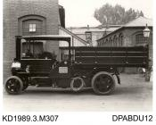 Photograph, black and white, showing a steam wagon for Forfar County Council, Forfarshire, Scotland, built by Tasker and Co, Waterloo Foundry, Anna Valley, Abbotts Ann, Hampshire