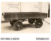 Photograph, sepia, showing a 3 ton, four wheel trailer used by Ferrand, built by Tasker, Waterloo Iron Works, Anna Valley, Abbotts Ann, Hampshire