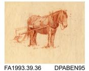 Drawing, coloured pencil drawing in brown, horse standing harnessed to a cart, drawn by William Grant, Havant, Hampshire on reverse: pencil sketch in brown, farm worker loading sacks on to a horse drawn wagon