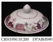 Jar lid, hard paste porcelain, dome shape with pinecone knop, decorated with flower sprigs and diaper panels in imitation of New Hall designs; not marked, made in Jingdezhen, Jiangxi Province, with decoration possibly applied in Guangzhou, Guangdong Pro