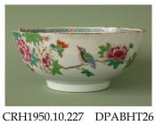 Bowl, hard paste porcelain, decorated in famille rose colours with a bird on a peony branch, gothic diaper and florette border inside; not marked, made in Jingdezhen, Jiangxi Province, China, c1770-1790