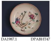 Saucer, hard paste porcelain, decorated in famille rose colours with two Chinamen cutting down a tree; not marked, made in Jingdezhen, Jiangxi Province, China, c 1765-1770