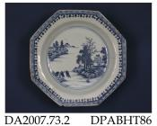 Soup plate, hard paste porcelain, octagonal, painted blue underglaze with a view of a watery landcape; not marked, made in Jingdezhen, Jiangxi Province, China, c1790-1800 the design was copied by Spode for what has come to be known as their 'Lake' patte