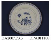 Plate, hard paste porcelain, painted blue underglaze with peony sprigs, brown edge; not marked, made in Jingdezhen, Jiangxi Province, China, c1750-1775