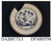 Dish, hard paste porcelain, painted blue underglaze with Chinese figures in a landscape, brown edge; not marked, made in Jingdezhen, Jiangxi Province, China, c1875-1900