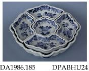 Sweetmeat dish, or pickle tray, hard paste porcelain, scalloped polygonal shape with five fitted dishes, decorated with a blue peony sprig and border incorporating diaper panels, insects, flowers and scrolls; not marked, made in Jingdezhen, Jiangxi Prov