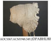 Bonnet, cap, infant's, fine linen, caul made of three strips gathered into bands of whitework insertion, 55cm diameter crown embroidered with large flowers with needle fillings, lace-edged frill round face and back, gathered strip nearest crown 25mm wid