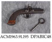 Pistol, percussion lock pistol, breech loading, with wrench to unscrew barrel for loading, Birmingham proof, .650ins calibre, made by William and Powell, Liverpool, Merseyside 1840