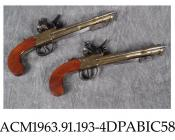 Pistol, pair, blunderbuss, side ramrods, spring loaded bayonets underneath, Tower of London private proof, made by Lott, Reading, Berkshire 1800