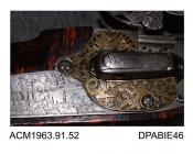 Rifle, wheellock sporting rifle, made by Johan Krumenau, Germany? 1681 stock decorated with wire and horn, lock plate etched with a picture of a walled town, cock engraved with dolphins and nudes