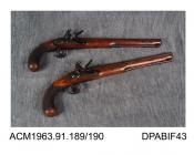 Duelling pistol, pair of flintlock duelling pistols, with barrel made at the Royal Neopolitan Factory, Italy, overstamped with Italian armourers mark, made by H W Mortimer, London 1780-85